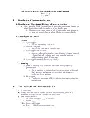 Lecture 22 Notes - Revelation.doc