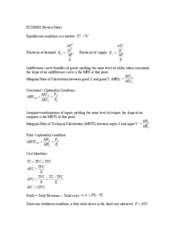 ECON501 Review Sheet