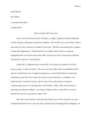 PACs and Super PAC Essay Test.docx