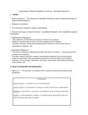 Study Guide for Research Methods in Science— Descriptive Research