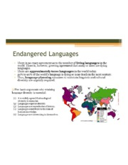 Endangered Languages: Planning and Revitalization