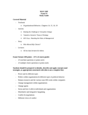 MAN 320F Exam 3 Study Guide