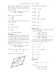 Homework on displacement vectors with answers