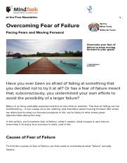Overcoming Fear of Failure - Career Development From MindTools
