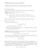 Assignment #5- Combinatorics and Graph Theory. Solutions