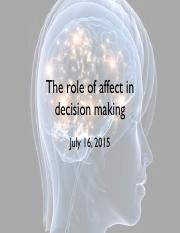 Lecture 8 - Affect and Decision Making