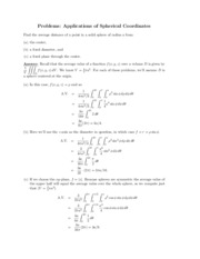 Applications of Spherical Coordinates problems review
