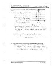 PHYS.122.2009.TUTORIAL.ELECTRICPOTENTIALDIFFERENCE.WELTER