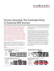 Week 5 Process Ownership The Overlooked Driver Booz