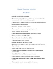 Financial Markets and Institutions Test 3 Review