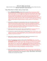 Media Literacy Study Guide Ch. 1
