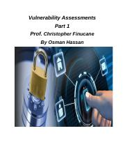 Vulnerabilities anDSecurity             Assessment Document Part 1 Osman Hassan - with comments from