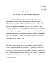 EDU 492 - Reflection Paper