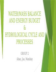 2 Water & Mass Balance, Energy Budget and Hydrological Cycle