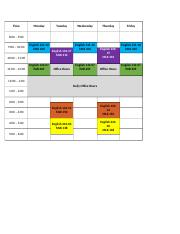 Professor's Schedule and Office Hours