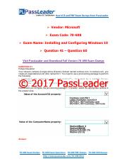 2017 PassLeader 70-698 Dumps with VCE and PDF (Question 41 - Question 60)