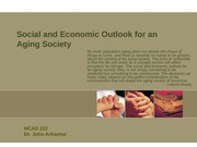 Social and Economic Outlook for an Aging Society 2013 Blanks