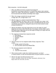 Body composition Review Sheet