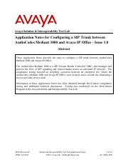 Configuring a SIP Trunk between AudioCodes Mediant 3000 and Avaya IP Office