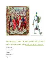 THE REFLECTION OF MEDIVIAL SOCIETY IN THE THEMES OF THE CANTERBURY TALES