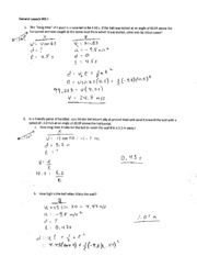 Projectile Motion Worksheet II Solutions - General Launch WS ll 1 ...