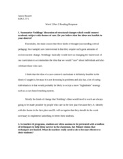 EDUC 571 Week 2 Part 2 Reading Response