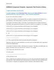 HUMN210 Assignment Arguments that Present a Fallacy.docx