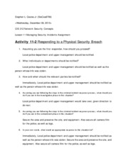 Lesson 11 Managing Security Incidents Assignment
