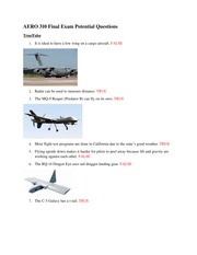 AERO 310 Final Exam Potential Questions