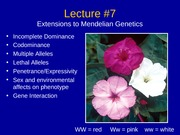 Lecture 7 - Modified Mendelian