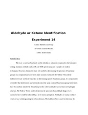 Identify Unknown Aldehyde or Ketone Exp 14.-Author
