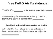 Free Fall & Air Resistance