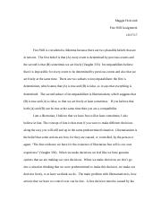 Free Will Assignment Rewrite .docx