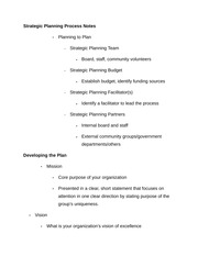 Strategic Planning Process Notes