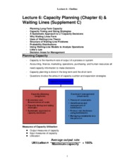 Lecture 6_Outline_CapacityPlanning_WaitingLines