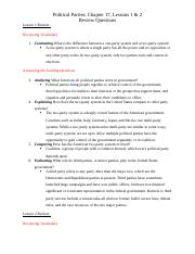 Political Parties - Chapter 17, Lessons 1 & 2 Review Questions