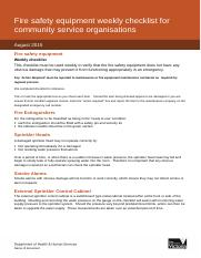 Fire safety equipment weekly checklist for community service organisations.doc