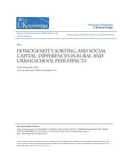 HOMOGENEITY SORTING AND SOCIAL CAPITAL- DIFFERENCES IN RURAL AN