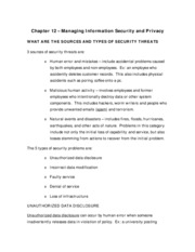 Chapter 12 - Managing Information Security and Privacy (Summary Notes)
