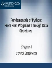 Chapter 3 - Control Statements