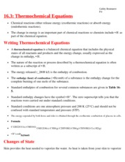 CHapter 16.3 Thermochemical Equations