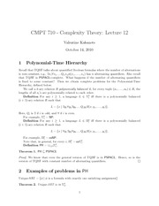 CMPT 710 Polynomial Time Hierarchy Notes