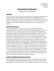 Three Advances in Forensics Essay.docx
