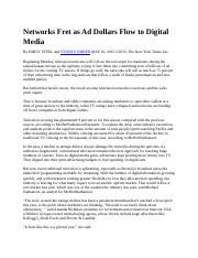 Networks Fret as Ad Dollars Flow to Digital Media.docx