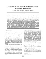 EVALUATING MANAGED CARE EFFECTIVENESS-A SOCIETAL PERSPECTIVE