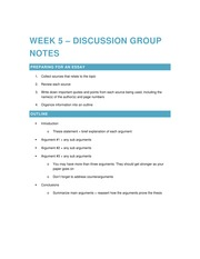 2015 02 04 Discussion Group Notes - Week 5