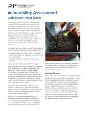 Insider Threat Assessment (Carnegie Mellon)