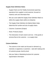 Supply Chain Definition Notes
