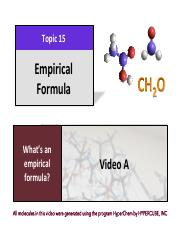 CHEM 102 Lecture Presentation Chapter 15 - Empirical Formulas