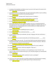English Comp II Online Exam 6 Answers